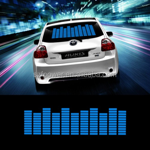 Blue 45*11cm Car Music Rhythm LED Sticker Flash Lamp Sound Activated Equalizer