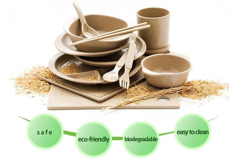 Eco Organic Rice Husk Biodegradable Baby Dinner Plate