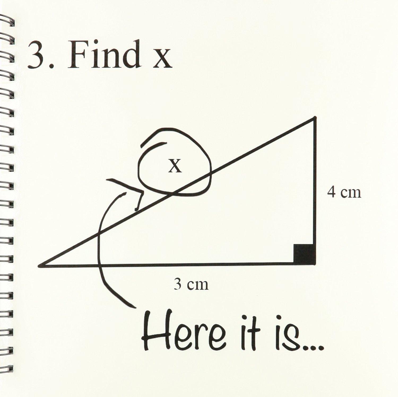 3dRose db_107310_2 Find X Here it is, Math Humor, School Humor, Funny, Geometry, Algebra-Memory Book, 12 by 12-Inch