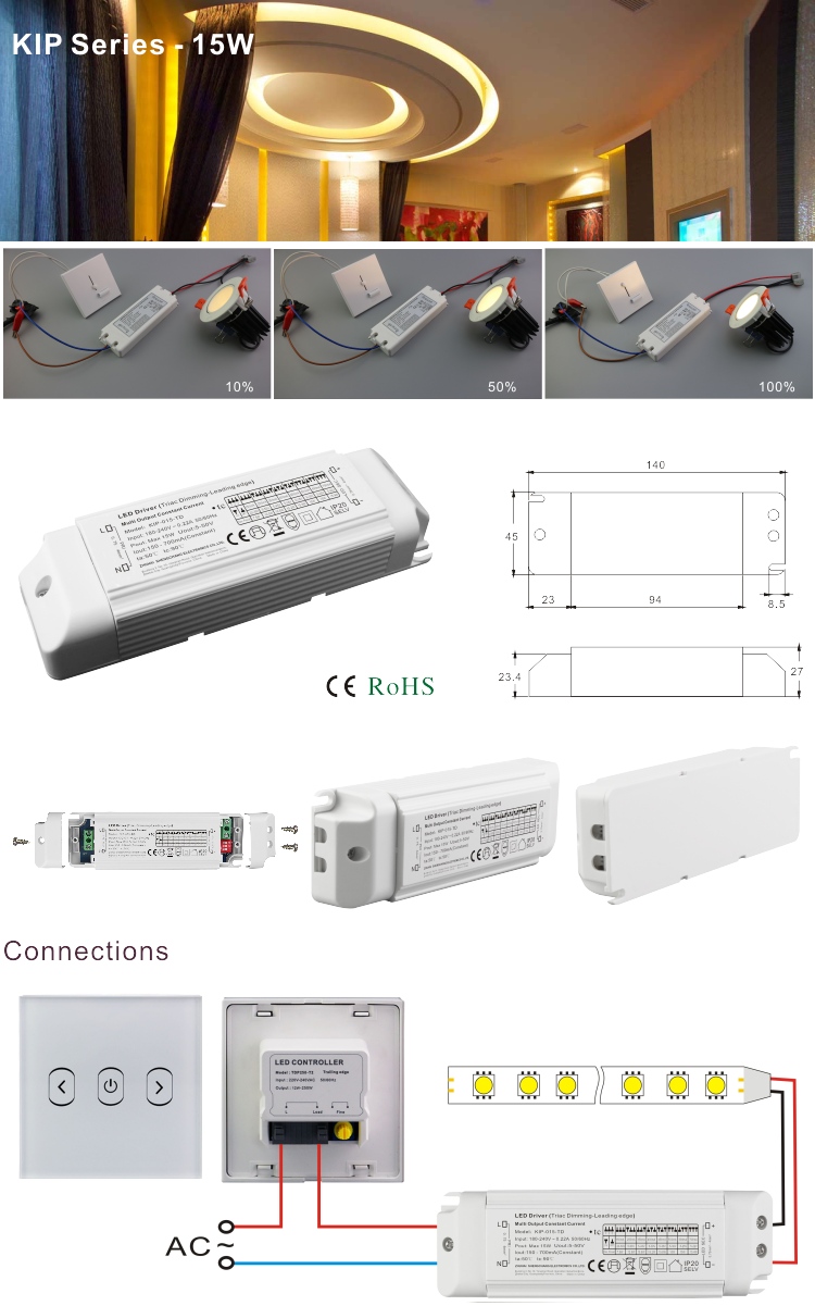 15W triac phase-cut constant current multi-current lighting power supply for downlights