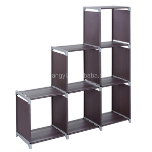 Water-proof shelf rack 3 Tier Storage Cube Closet Organizer Shelf Cabinet Bookcase, 6 Cube Organizer Cabinet,Purple
