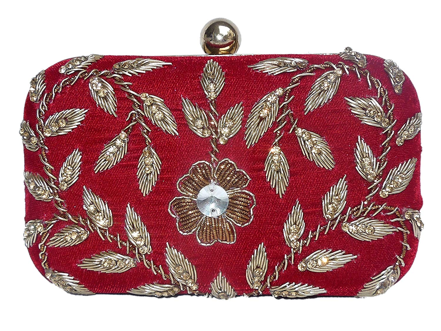 4c6c28a1d1c Get Quotations · Spice Art Maroon Zardozi Embroidered Designer Box Clutch  for Ladies