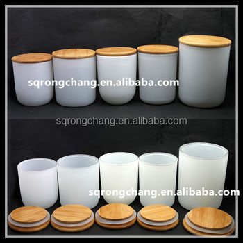 Wholesale Sprayed Frosted White Glass Candle Jars With Bamboo Seal ...