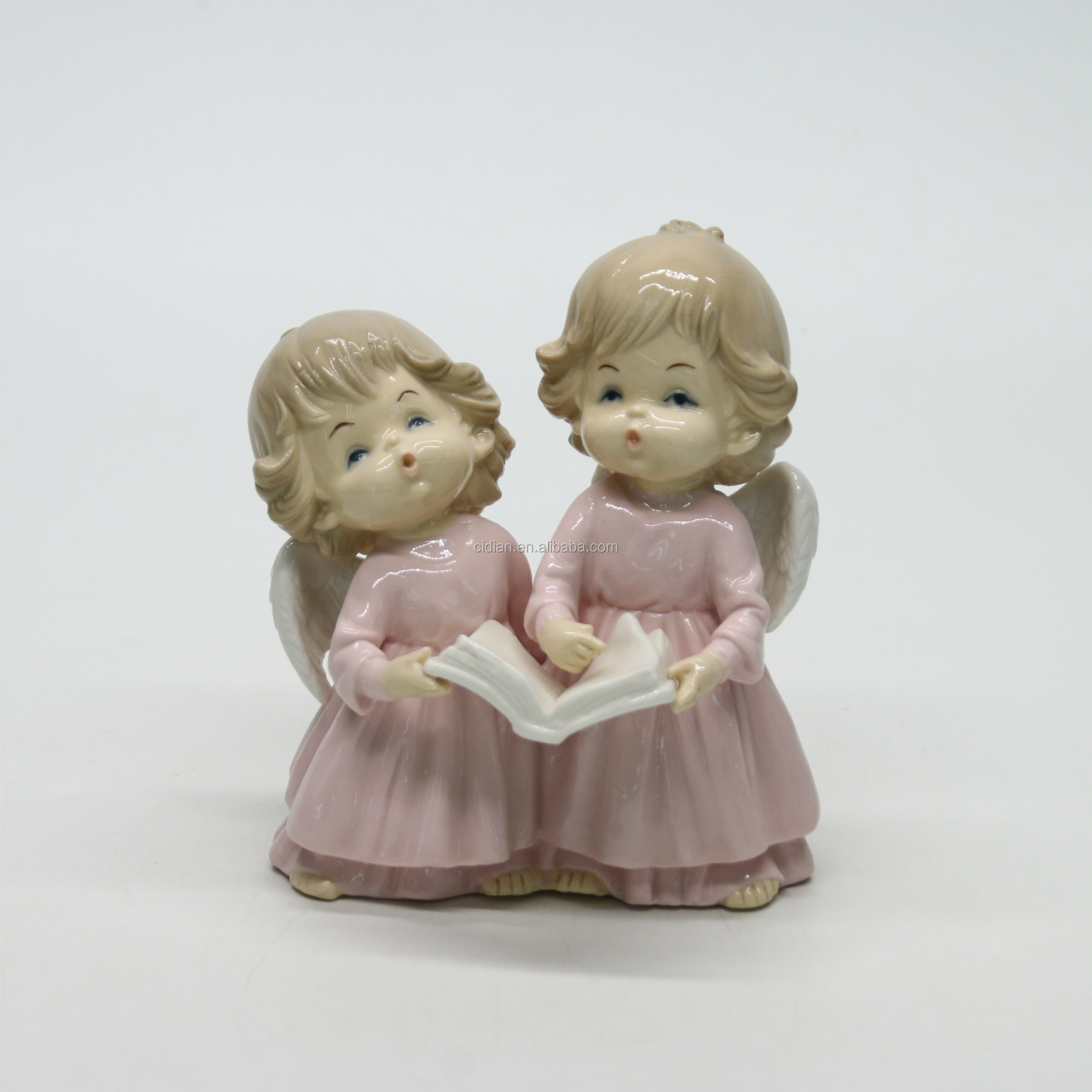 Baby angle sisters ceramic figurines for home decoration