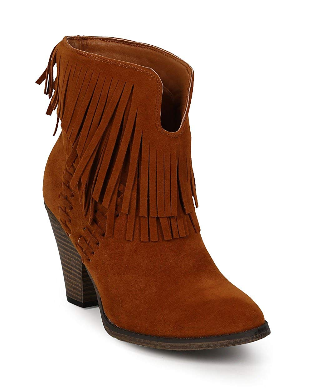 Nature Breeze Women Suede Almond Toe Fringe Chunky Heel Ankle Bootie CI62 - Tan Faux Suede