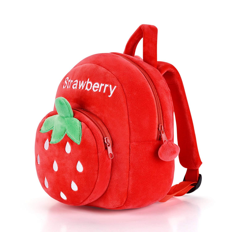 3D Cartoon Plush Kids Backpack Bag Strawberry Iuhan 3D Cute Zoo Cartoon Child Toddler Leash Anti-lost Shoulder Bags Small School Shoulder Bag