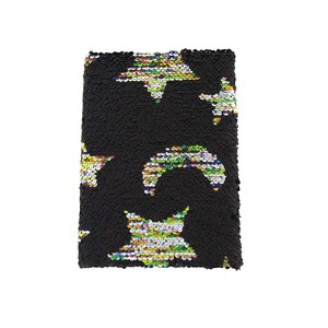 black cover with colorful stars and banana charming glistening journal
