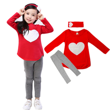 3PCS LOVE SET= 1pc hair band+1pc shirts+1pc pants Children's Clothing set Girls Clothes suits Pink Red Heart Design