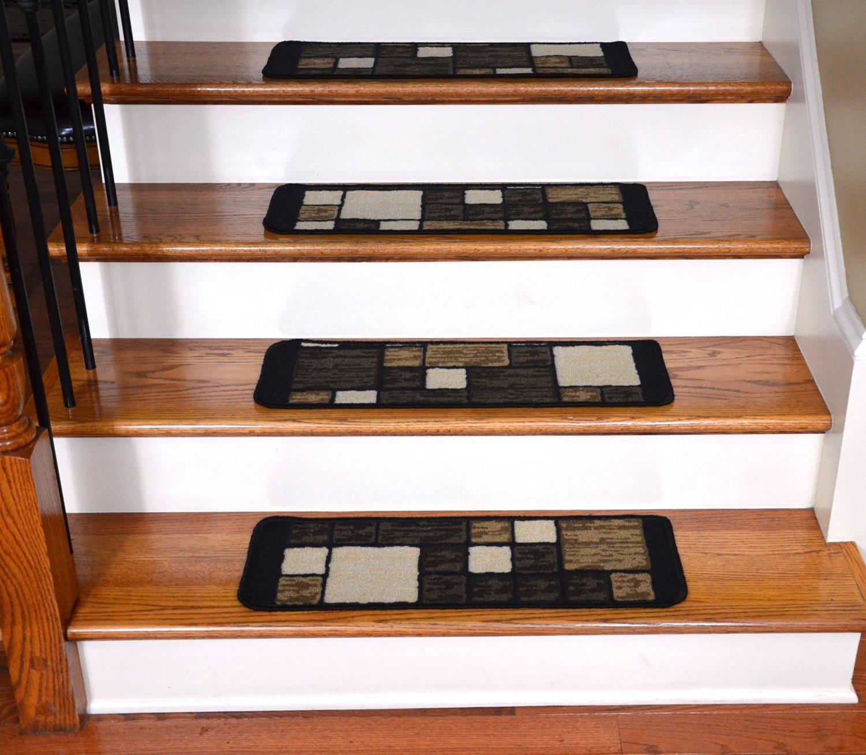 Washable Carpet Stair Treads - Hop Scotch Chocolate