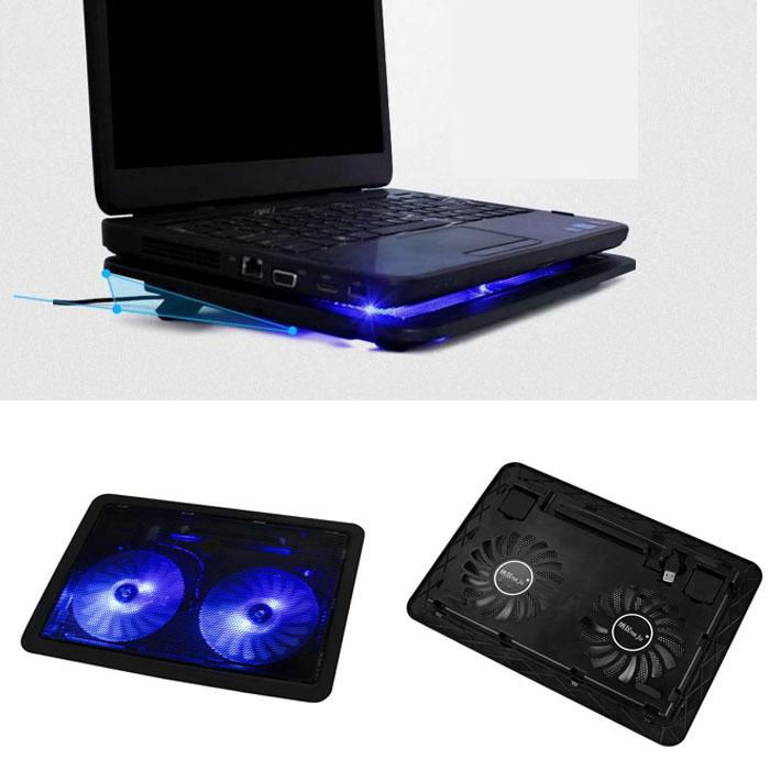Фантастик! Usb 2 вентилятор порт охлаждение холодильная камера площадкой для ноутбуки ноутбук с светодиодные и Feida