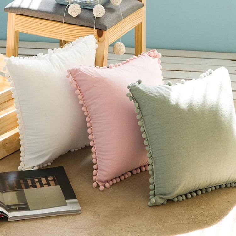 wholesale washed cotton plain blank pink white color decorative cushion cover with pom pom