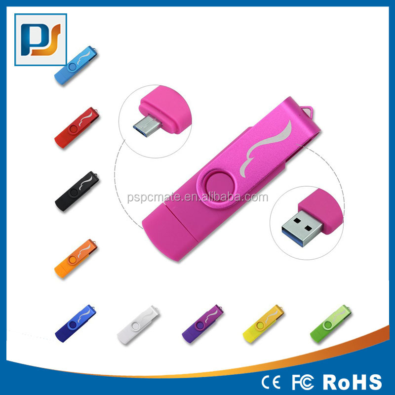 Classics Swivel OTG USB Flash Drive Memory Stick Dual Port Twist Thumb Drive with Micro USB Port Pen Drive Smartphone USB