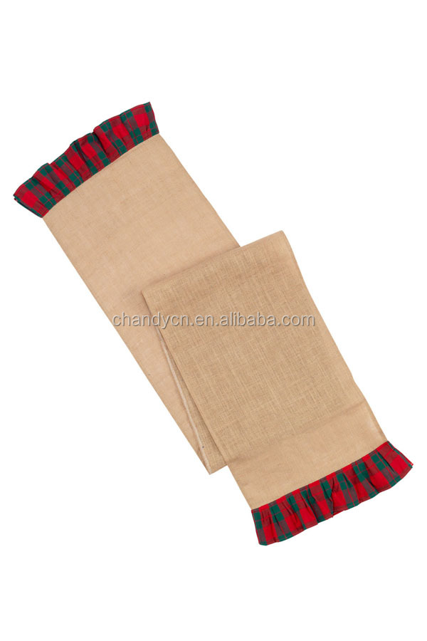 monogram Personalized christmas plaid burlap table runner features