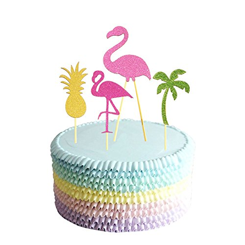 Partico Cake Topper Pink Flamingo Pineapple Cupcake Picks For Luau Hawaii Birthday Wedding Beach Party Decoration