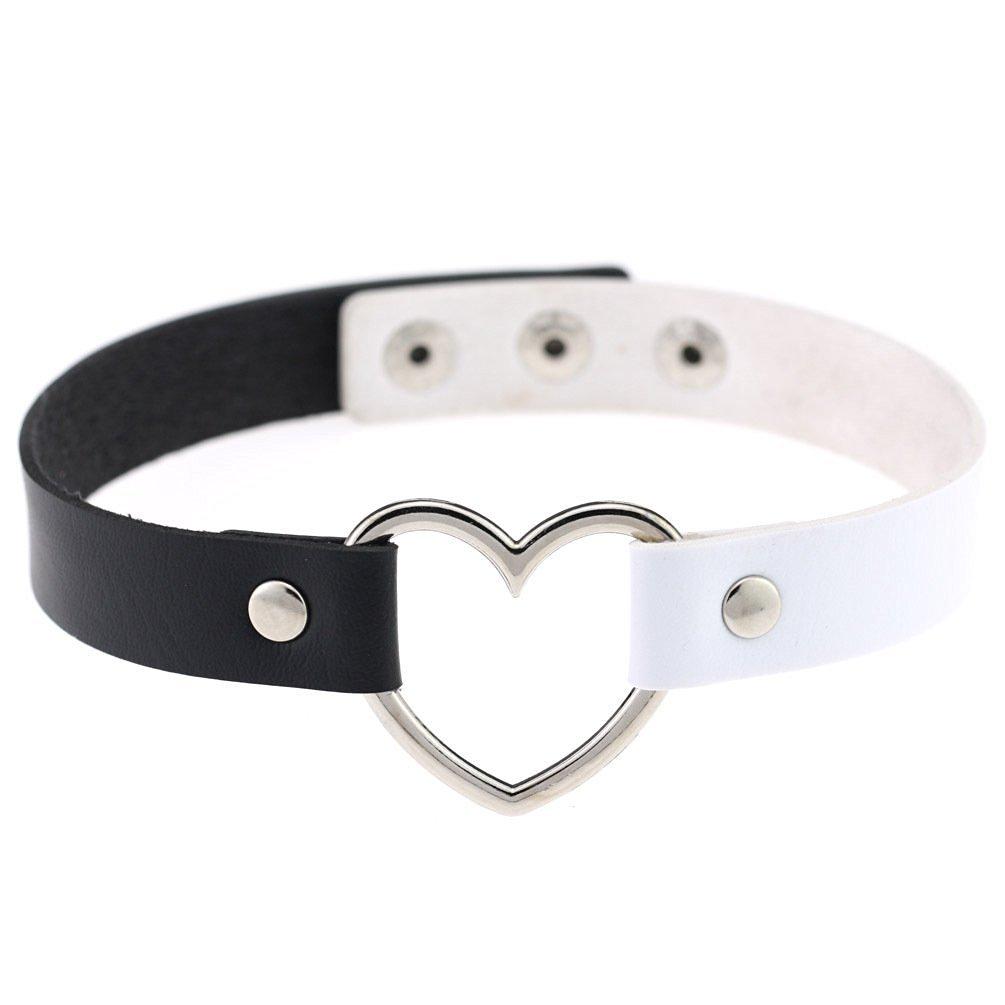 Akak Store New Fashion Girls Love Heart Choker Double Color PU Leather Collar Punk Collar Choker Necklace Heart Goth Fans Choker Necklace