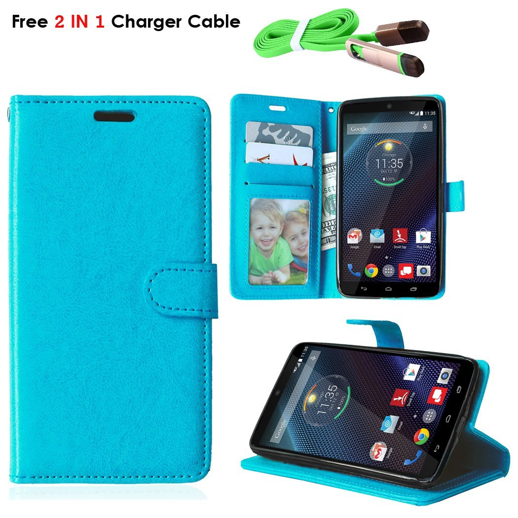 DROID Turbo Case, Motorola Droid Turbo Wallet Case, TOMYOU Flip PU Leather with [3 Card Slots] [kickstand] Soft TPU Rubber Silicone Cover for Motorola Moto Droid Turbo XT1254 Blue