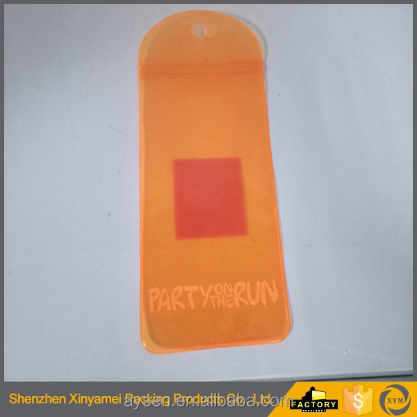 resealable clear orange color poly moisture proof PVC zipper closure bags