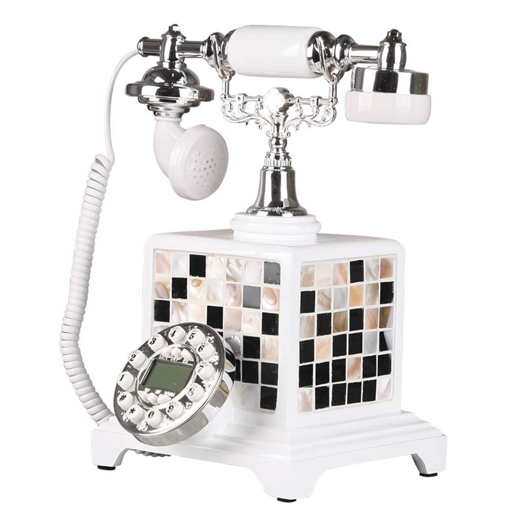 Corded Telephones Landline Phone Antique Phone Retro Vintage Nostalgia Home Office Landline Metal Rotating Ringtone White Sticker Shell (Color : White, Size : 251630cm)