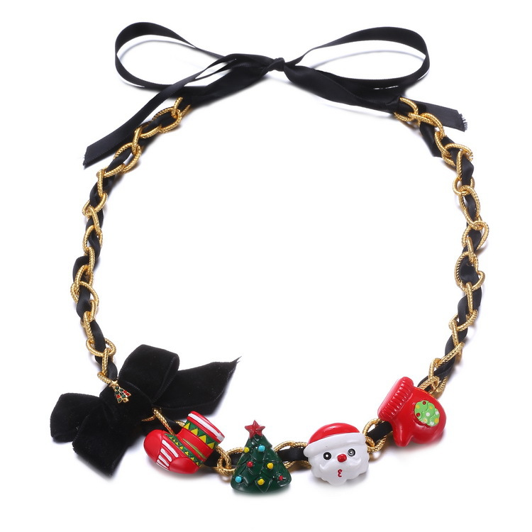Christmas Gift Snowman Charm necklace For Women Christmas tree String Braid Jewelry