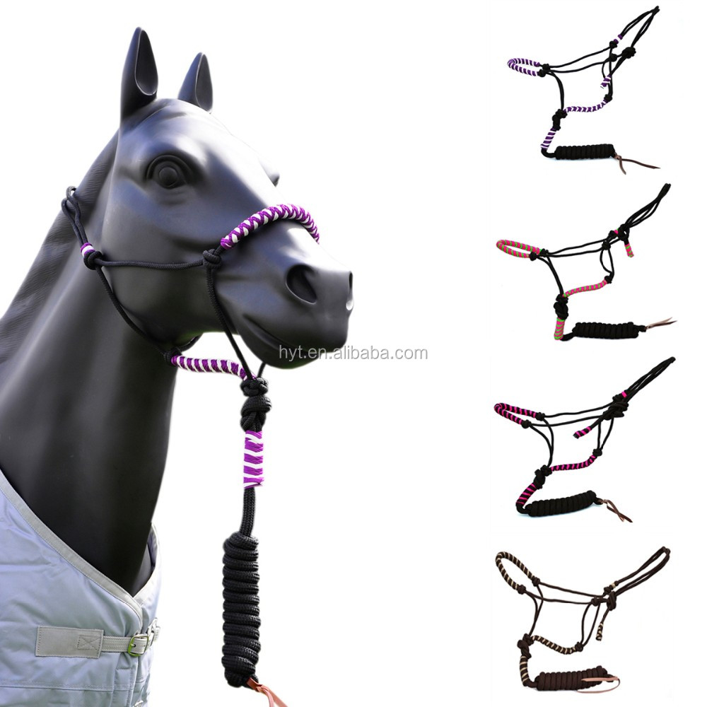 Braided Horse Halter With Lead Leather Strip End