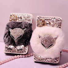 Real Rabbit Fur Fox Head Bling Flip Leather Wallet Case capa for Samsung Galaxy S6 S6 Edge S6 edge Plus S3 S4 S5 Note 5 4 3 2