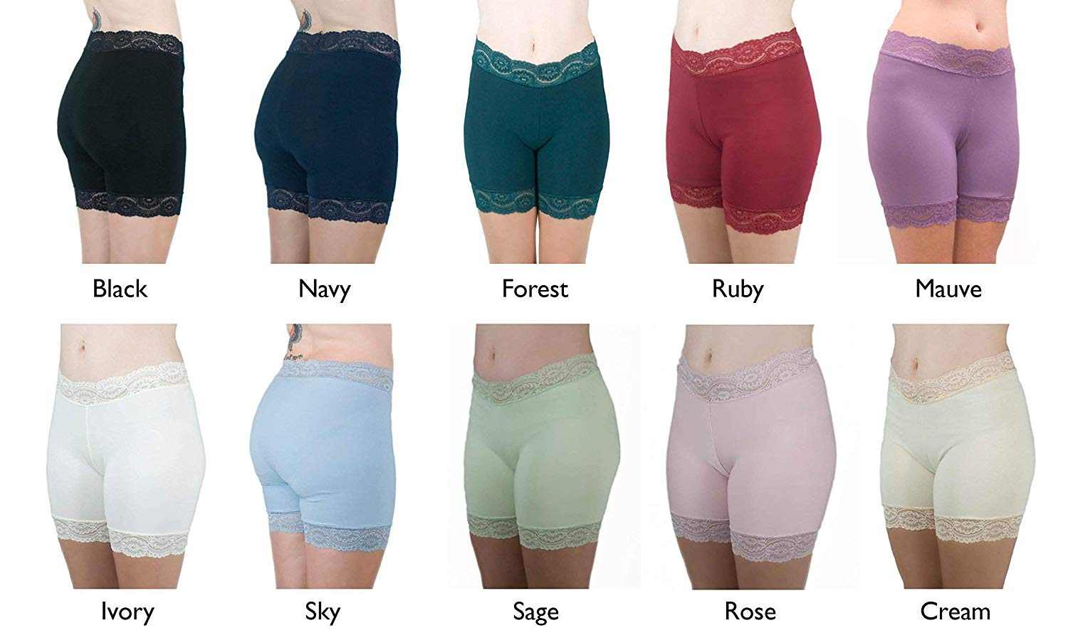 ce16b30869d8 Get Quotations · Anti Chafe Shorties Cotton Lace Bloomers Lace Trimmed  Biker Shorts
