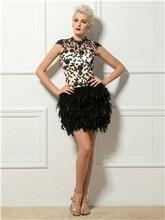 Коктейльные платья-сексуальная с коротким перья и аппликации(Китай)