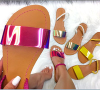 SD-063 2019 fashion glitter laser PVC strap open toe sandals for women with PU sole wholesale ladies casual jelly flat sandals