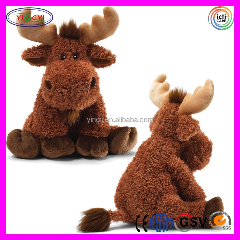 A576 Baby Gifts Brown Moose Plush Animal Sitting Stuffed Moose Toy