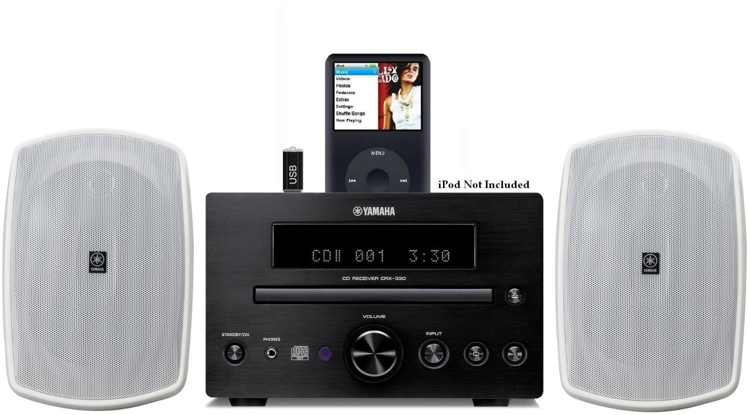 Yamaha Natural Sound Micro Home Theater Receiver Sound System with Integrated iPod Docking Station, High Quality CD Player, USB Port for Flash Drive & All Weather Indoor / Outdoor Speakers (Speakers are White) 50ft 16 AWG Speaker Wire Included