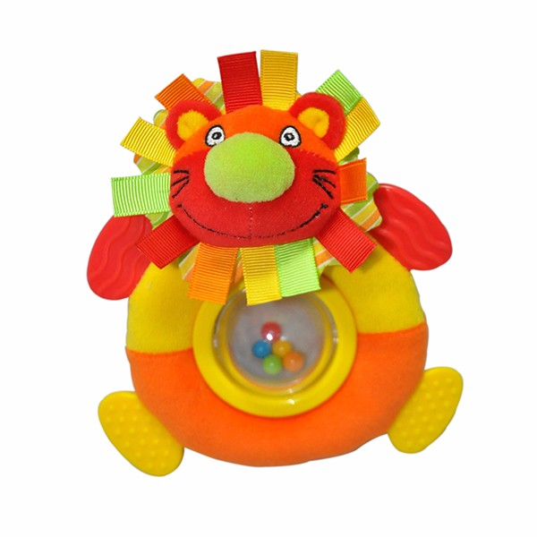 Eco-friendly soft plush animal baby rattle toy