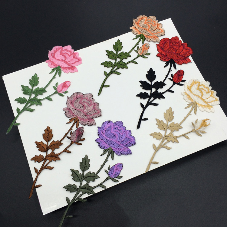 good sales colorful rose embroidery fancy patch