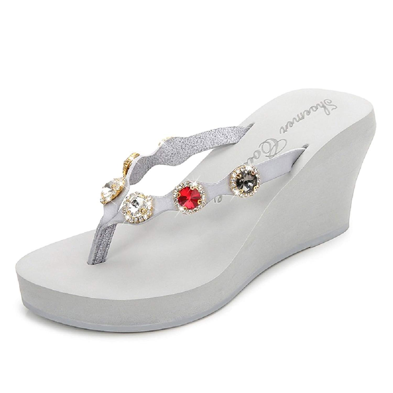 2134cad64f02 Get Quotations · Gold Cloud Women Lady Girl New Fashion Several Rhinestones  Flip Flops Wedge Platform Sandals Thongs Casual