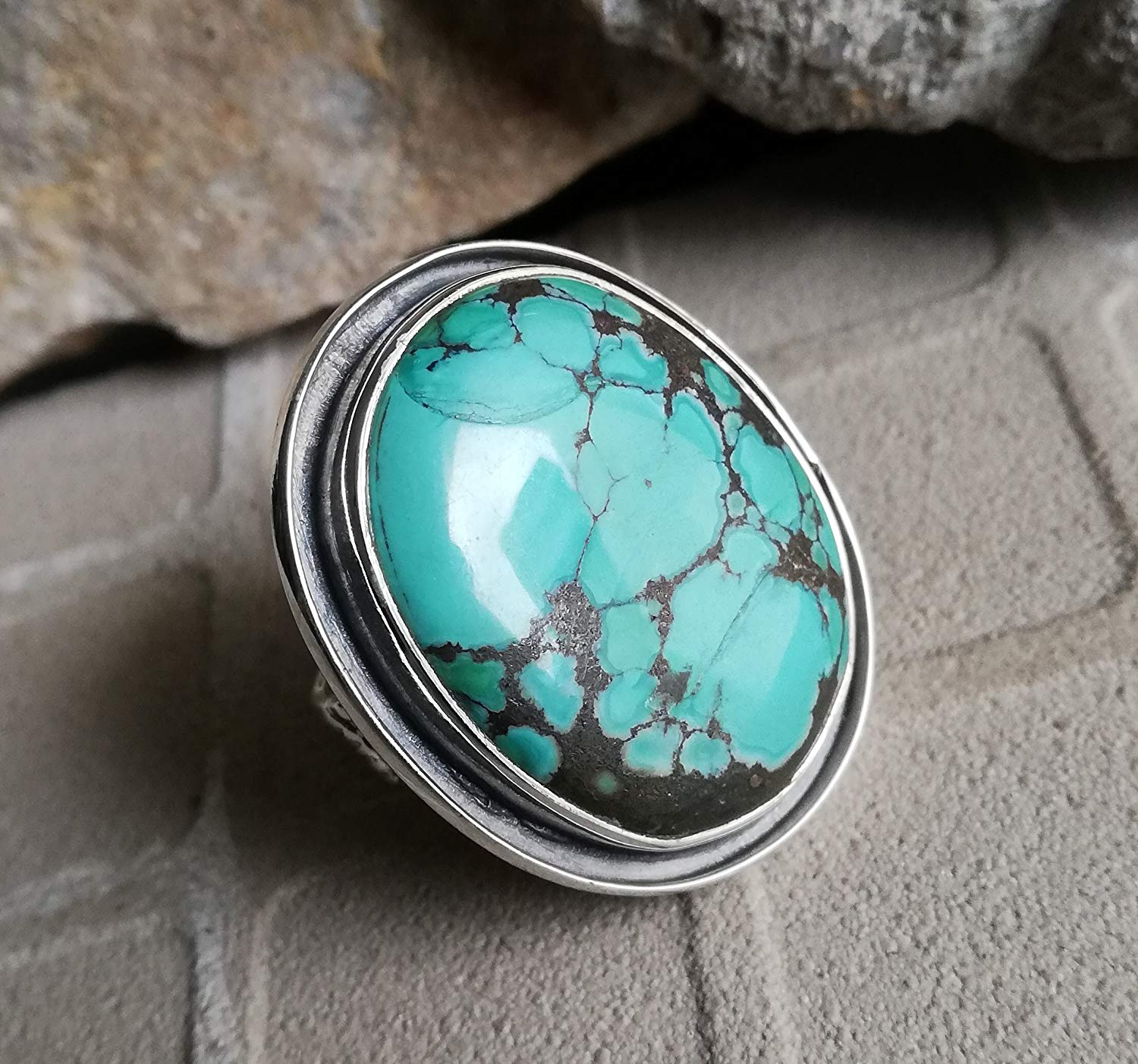 Natural Turquoise Ring, 925 Sterling Silver, Wide Band Ring, Celebrated Gift, Fascinating Ring, Hypoallergenic Ring, Southwestern Ring, Personalised Ring, Classic Elegance Ring, Boho, US All Size Ring