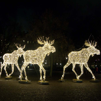 outdoor lighted christmas sculpture lights reindeer moose led for lawn decoration ip65