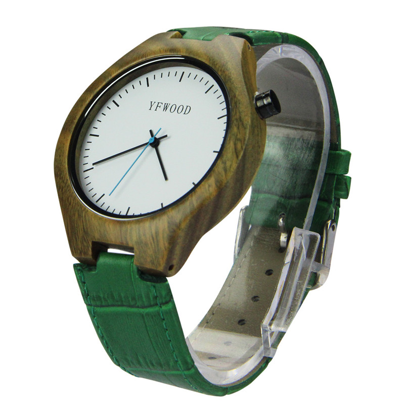 Hot sale natural wood and genuine leather band fashion men wrist watch