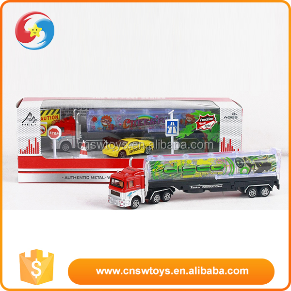 Newest design cheap kids metal toy truck and trailer with music & light