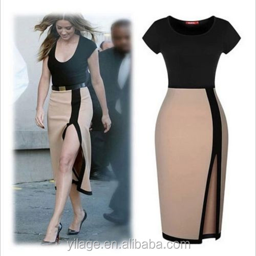 Clubwear Slipt Sexy Short Sleeve Bodycon Pencil Dress Evening Party Dress For Women L1917