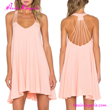 Pink Cross Back Summer Beach Ladies Dresses Made In India Summer