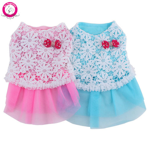 15ed25e7e18ee Sweet Princess Summer Pet Puppy Clothes Lace Mesh Tutu Skirt Flora Print  Bow Dog Dress Pink Blue