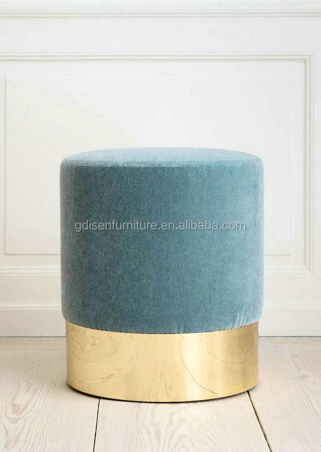 Azucena taburete Sala muebles tela redonda otomana taburete-Pufs y ...