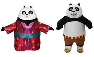 "KUNG FU PANDA - Set of 2 Characters Plush Toys of the movie ""KUNG FU PANDA 3"" 2016: ""Panda Mei Mei"" and ""Panda Po"" (both 11""/28cm) - Super Soft Quality"