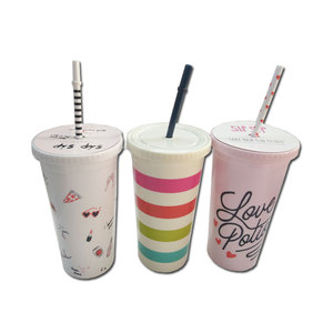 16oz Custom Promotive Gift Plastic Double Wall insulated tumbler with lid and straw cups