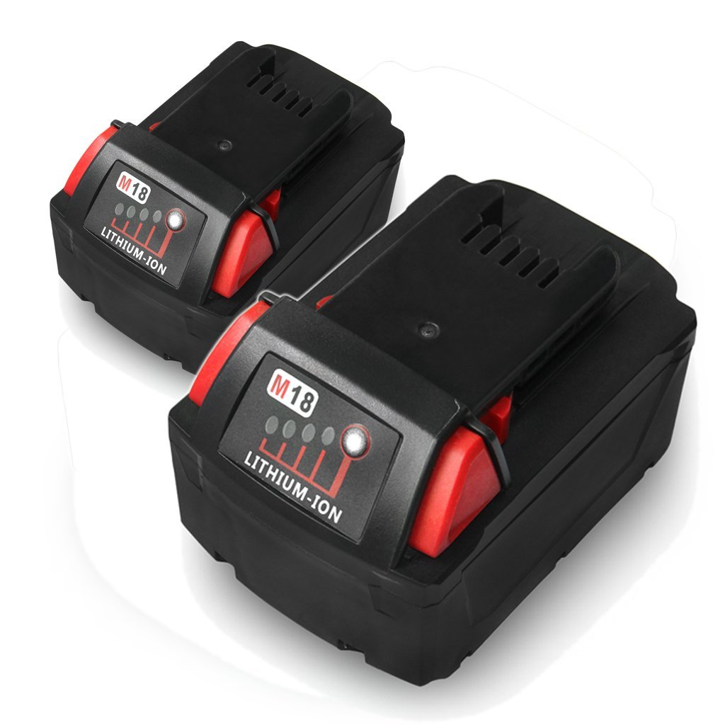 Floureon 2Pcs 75Wh 18V Replacement Lithium-ion Li-ion Drill Combo Battery Charger for Milwaukee M18 Cordless Tool 48-11-1828