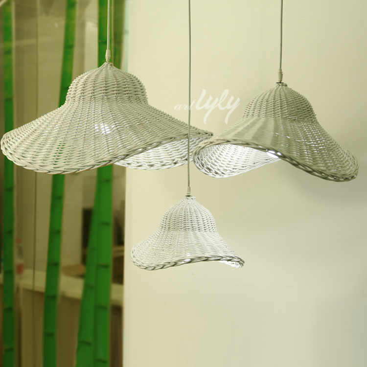 china handicraft wicker lampshades modern white pendant lamp