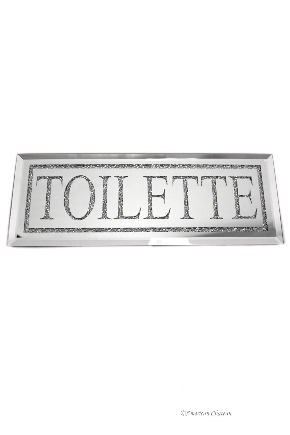 Bead And Mirror French Toilet Toilette Bathroom Door Wall Plaque Sign