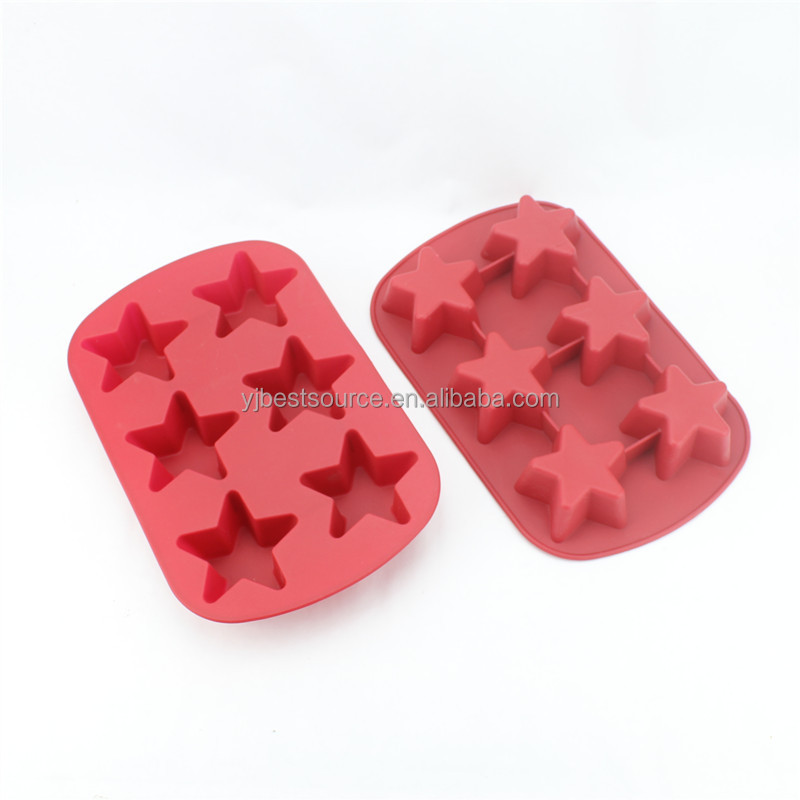 2015 new products silicone 6 star cake mold muffin cup cake mould