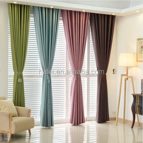 plain dyed solid color window curtain full shade panel blackout fabric