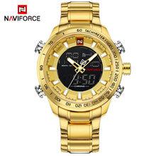NAVIFORCE Роскошные Брендовые мужские военные спортивные часы, мужские Цифровые кварцевые часы, полностью стальные водонепроницаемые наручные...(Китай)