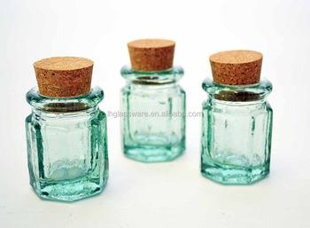 Set Of 6 Spanish Green Recycled Gl Mini E Jars W Cork 2 Quot